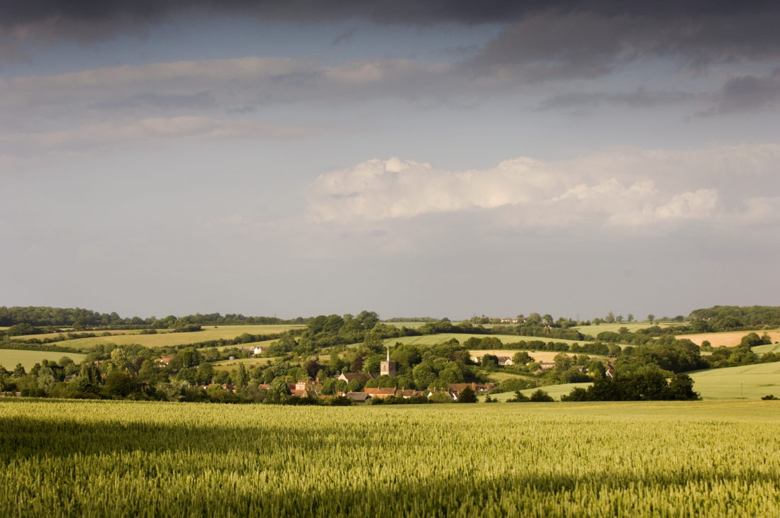 View across the fields to the the village of Standon, Hertfordshire