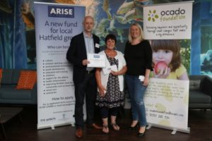 mike-and-heather-dyce-from-gracemead-church-are-presented-with-a-cheque-from-arise-hatfield-by-ocado-head-of-corporate-affairs-suzanne-westlake-picture-danny-loo