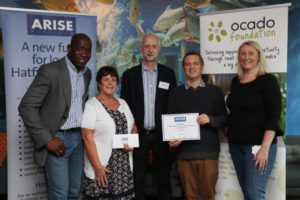 representatives-from-hatfield-foodbank-are-presented-with-a-cheque-from-arise-hatfield-by-ocado-head-of-corporate-affairs-suzanne-westlake-picture-danny-loo